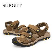 SURGUT Sandals Genuine Fashion Leather Breathable Summer Men Beach Men New Brand yBqSwBCg