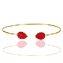 Pink Chalcedony 18K Yellow Gold Plated Sterling Silver Cuff Bangle Jewelry - $17.82