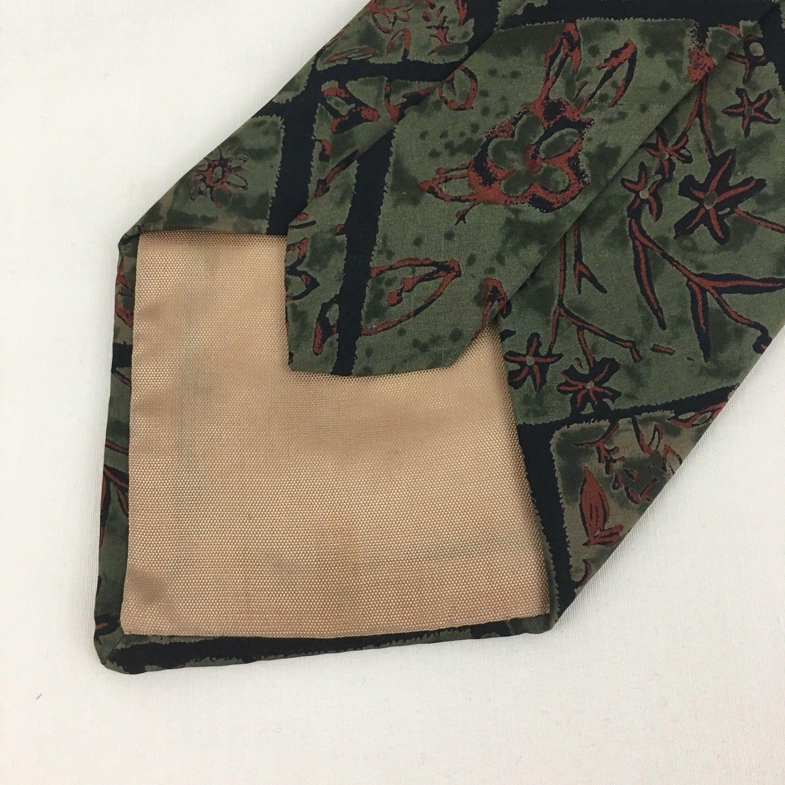 Geoffrey Beene Silk Tie Green Brown Floral 4 Inch Wide image 4