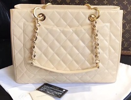 AUTHENTIC CHANEL QUILTED CAVIAR GST GRAND SHOPPING TOTE BAG BEIGE GHW  image 11