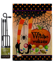 Witches Welcome Burlap - Impressions Decorative Metal Garden Pole Flag S... - $33.97