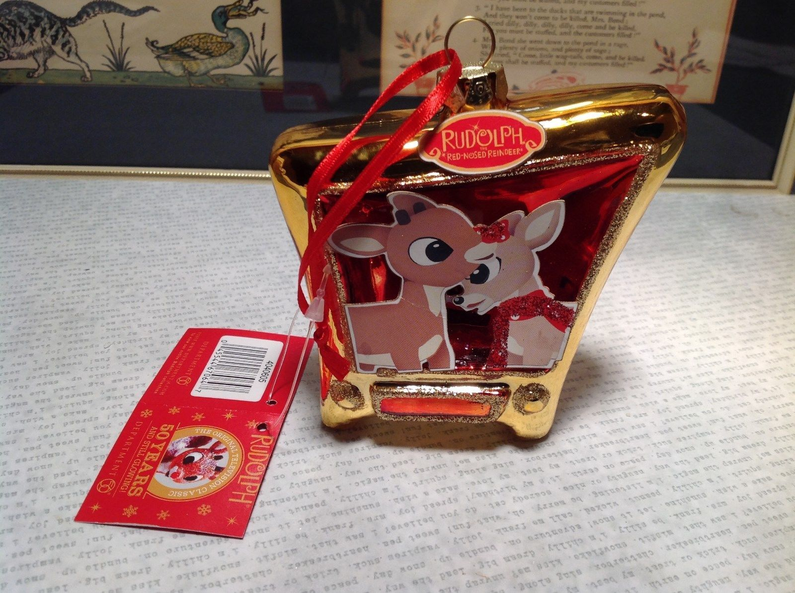 50 Years Rudolph Red Nosed Reindeer Glass TV Shaped Gold Tone Ornament