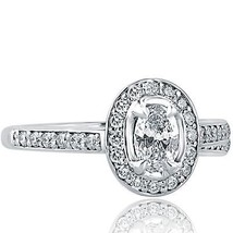 0.77 Ct F-VS1 Oval Cut Diamond Engagement Halo Ring 14k White Gold - €1.188,98 EUR