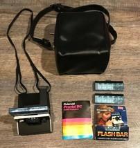 Polaroid Pronto! B Black Land Instant Camera With Manual Flash Bars Photography - $65.44