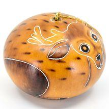Handcrafted Carved Gourd Art Deer Buck Animal Ornament Made in Peru image 4