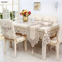 Europe Style Polyester Satin Fabric Embroidery Pattern Tablecloth Decora... - $24.09+