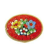 Vintage Small Micro Mosaic Brooch Pin Intricate Detailed Flower Glass - ... - $16.50