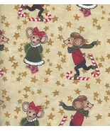 Quilt Fabric per Fat Quarter Skating Merry Christmas Mice,Mouse, Gold Pr... - $4.97