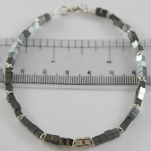 Bracelet Giadan Silver 925 Hematite Glossy and Diamonds White Made in Italy - image 1