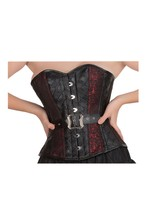 Red Black Brocade & Leather Goth Halloween Costume Burlesque Overbust Co... - $65.16