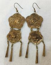 "Earrings Dangling Flower Floral Brass Metal Vintage 4"" Jingle Sound Cone... - $9.89"