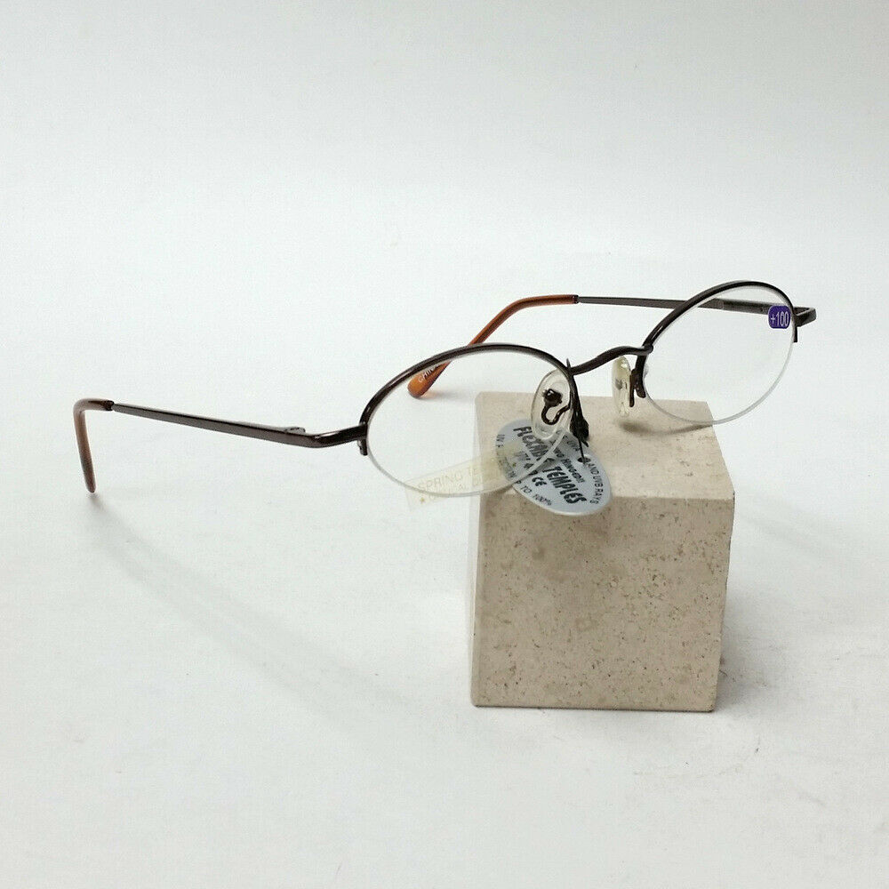 Brown Reading Glasses +1.00 Spring Temples w/ Metallic Brown Fold-able Case