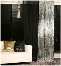3FTX6FT-Grey-Sequin Backdrop Photo Booth Curtain Blue Sequin Fabric Wedd... - £15.53 GBP