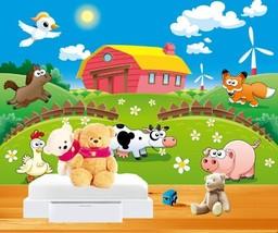3D Tiere auf dem Bauernhof  Fototapeten Wandbild Fototapete BildTapete Familie - $52.21+