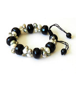 Black Agate with White and Grey Pearls Bracelet - $90.00