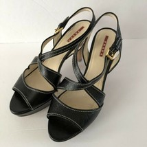 Prada Black Leather Strappy Slingback Platform Heel Shoe 40 (10) Wood Heel - $64.99