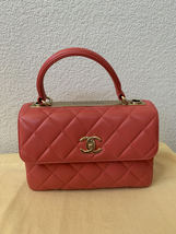 AUTH CHANEL QUILTED LAMBSKIN CORAL PINK TRENDY CC 2 WAY HANDLE FLAP BAG GHW image 2