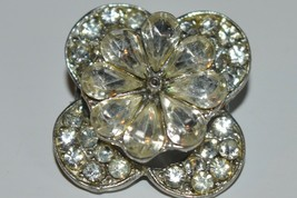 Vintage Jewelry Brooch Pin 24mm Crystal glass Rhinestone Flower  - $12.16