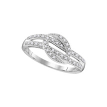 10kt White Gold Womens Round Diamond Band Fashion Ring 1/10 Cttw - £116.82 GBP