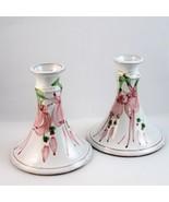 Judy Greene candlesticks hand thrown terracotta fuschia flower Galway Ir... - $19.89