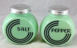 LARGE RANGE SIZE JADITE GREEN GLASS ROUND FLAT FRONT BLACK LINES SALT PE... - £29.29 GBP
