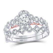 14kt Two-tone Gold Round Diamond Bridal Wedding Engagement Ring Band Set 3/4 Ctw - $1,598.00