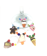 Cake, Ice Cream, Desert  Wine Charms with Colored Beads x6 Drink Identif... - $10.99