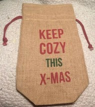 Keep Cozy This Xmas Christmas Burlap Wine Bag Xmas Gift Drawstring - $12.99