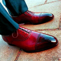 Men Oxford Maroon Burnished Brouging Magnificent Premium Quality Leather... - $139.99+