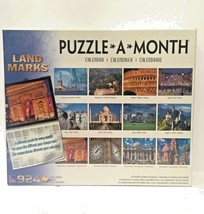 Framed Land Marks PUZZLE A MONTH Calendar 924 PC By Sure-Lox NEW SEALED ... - $22.18