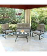 4 PC Patio Sectional Set Cushioned Outdoor Furniture Garden Coffee Table... - $379.98