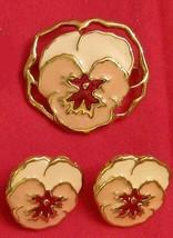 VINTAGE Pink Pansy Jewelry LOT Full Bloom Set, PIN & PIERCED EARRINGS  - $21.73