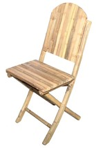Bamboo Tiki Folding Chairs Patio Deck Solid Bamboo Armless Set of 2  - $99.95