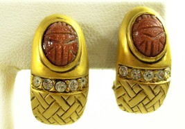Scarab Caramel Glimmer Cab Rhinestones Matte Gold Plate Clip Earrings Es... - $14.36