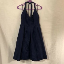J Crew Womens 8 Dress Cotton Cady Lydia Navy Blue Box Pleat Halter Top  - $34.98