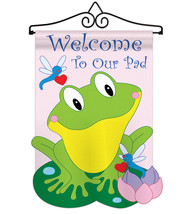 Friendly Frog - Applique Decorative Metal Wall Hanger Garden Flag Set GS... - $29.97