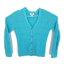 Talbots Womens Cardigan Sweater Blue Chunky Cable Knit Buttons Ribbed V ... - $21.77