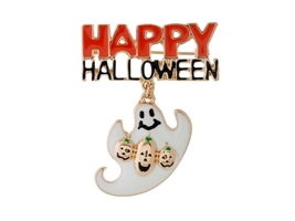 Goldtone White Ghost Happy Halloween Pin & Brooch - $8.95