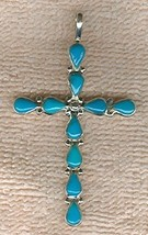 10 Turquoise Cabochons Set in Sterling Silver Cross - $48.00