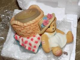 Cherished Teddies 1998 Girl W/Basket Candle Holder MIB HTF - $40.94