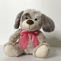 "Dan Dee Collectors Choice Puppy Dog Plush Stuffed Animal Pink Ribbon Bow 9"" Tall - $21.78"