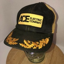 Vintage ACE ELECTRIC COMPANY 70s 80s Black Yellow Trucker Hat Cap Snapba... - $140.95