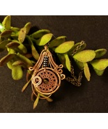 Copper Wired Wood Wheel with Accent of Black Beads - $20.00