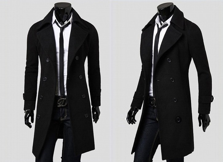 Fashion men leisure long coat wool overcoat image 3
