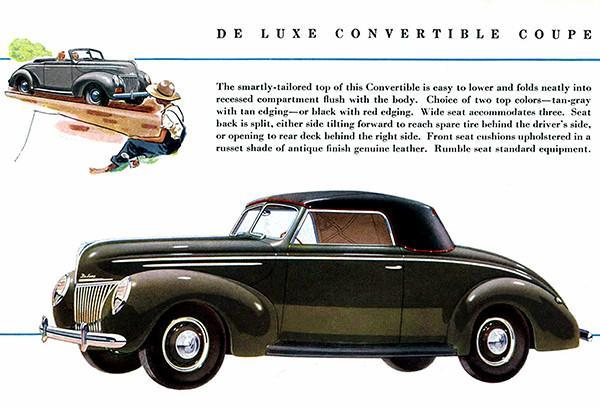 Primary image for 1939 Ford De Luxe Convertible Coupe - Promotional Advertising Poster