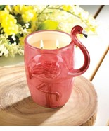 Tropical Scented 2 Wick Candle in Pink Flamingo Ceramic Cup 75 Hour Burn... - $20.90