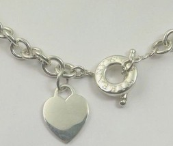 """Tiffany & Co Silver Heart Toggle Heavy Chain Link Choker Necklace  16""""  72.7g - $373.07"""