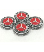 4PC Mercedes Benz Center Caps BLACK & RED Chrome 3 ''/75mm Fit Model C E... - $18.79