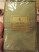 RALPH LAUREN 100% COTTON SATEEN ESTATE 2 STANDARD PILLOWCASES 450 Thread - $51.28
