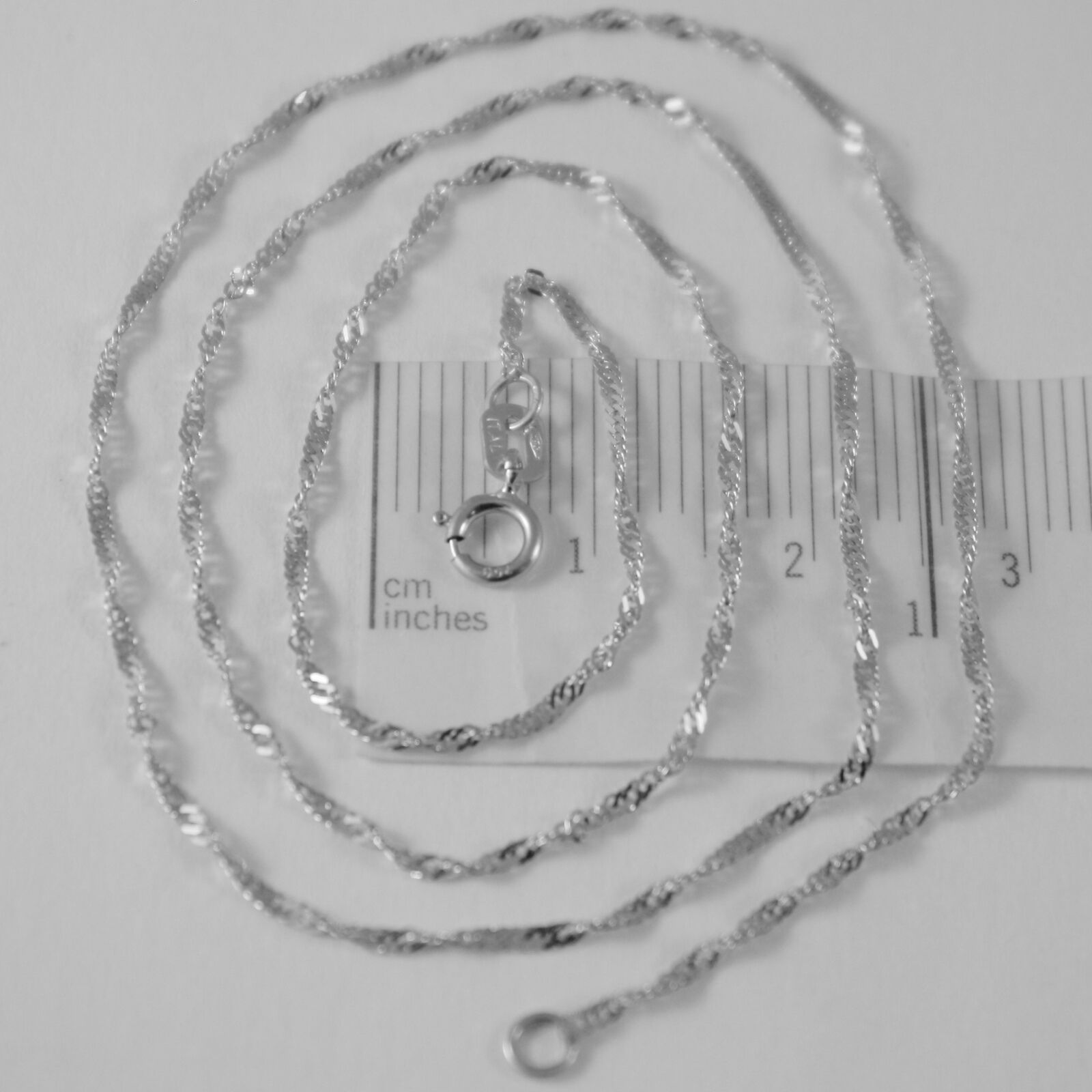 18K WHITE GOLD MINI SINGAPORE BRAID ROPE CHAIN 18 INCHES 1.2 MM MADE IN ITALY